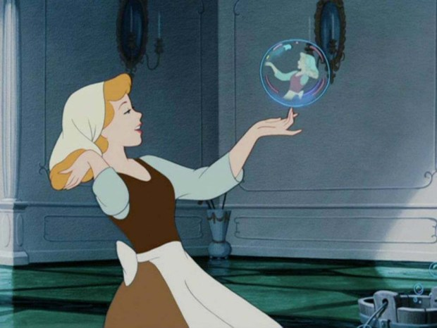 Cinderella-looking-in-a-bubble-at-her-reflection
